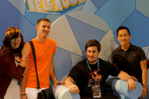 Jessa, me, Shawn, and Sam at the Adventure Time booth in Fan Expo