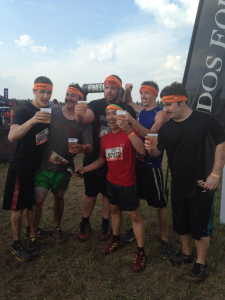 Group shot right after we finished Tough Mudder, and got our free beers